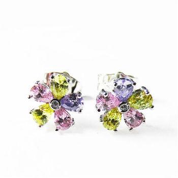 【KAGAYAKU】多色花朵造型晶鑽耳針式耳環