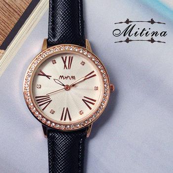 Mitina時尚羅馬數字晶鑽波紋皮錶