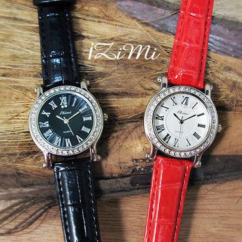 IZIMI 時尚羅馬數字晶鑽波紋亮面皮錶
