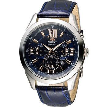 東方錶 ORIENT 羅馬時光計時時尚錶 FTW04007D 藍