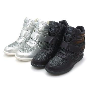 【 cher美鞋】韓系拚色內增高綁帶休閒鞋  (黑 銀2色) 5688-125