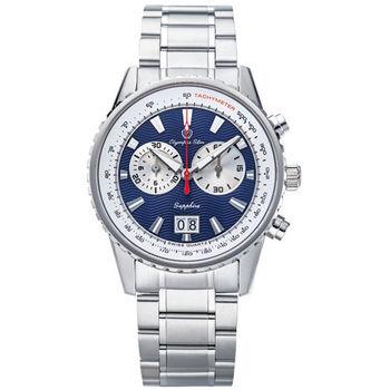 Olympia Star 奧林比亞之星-航海地圖多功能計時腕錶 (42mm-龐克藍) 589-01MS