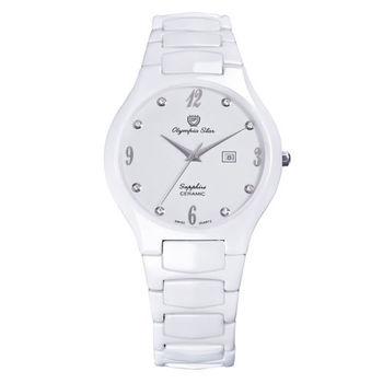Olympia Star奧林比亞之星-眩光白陶瓷腕錶(菁英白/40mm)582-03MS