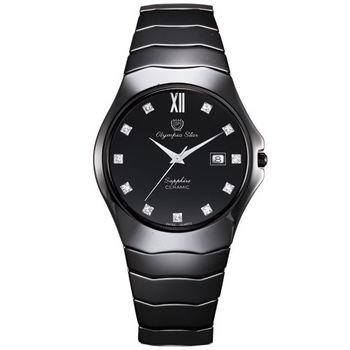 Olympia Star奧林比亞之星-眩光酷炫黑陶瓷腕錶(都會黑/40mm)582-02MS