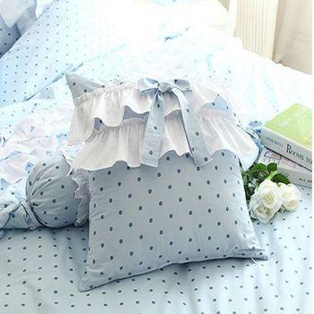 【協貿】時尚簡約波點柔美水玉藍蝴蝶結抱枕含芯