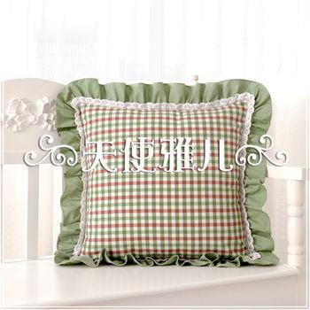 【協貿】田園休閒蕾絲英倫小綠格子花邊抱枕含芯