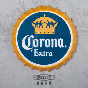 【OPUS LOFT純真年代】仿舊啤酒瓶蓋壁飾 立體牆飾鐵皮畫 居酒屋美式餐廳夜店牆面裝飾掛畫(可樂娜)