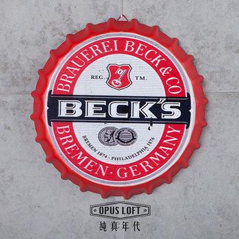【OPUS LOFT純真年代】仿舊啤酒瓶蓋壁飾 立體牆飾鐵皮畫 居酒屋美式餐廳夜店牆面裝飾掛畫(貝克)
