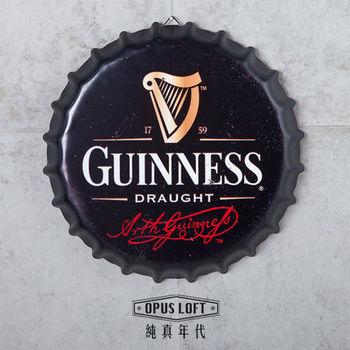 【OPUS LOFT純真年代】仿舊啤酒瓶蓋壁飾 立體牆飾鐵皮畫 居酒屋美式餐廳夜店牆面裝飾掛畫(吉尼斯)
