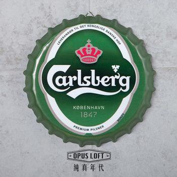 【OPUS LOFT純真年代】仿舊啤酒瓶蓋壁飾 立體牆飾鐵皮畫 居酒屋美式餐廳夜店牆面裝飾掛畫(嘉士伯)