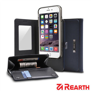 Rearth Apple iPhone 6 Plus (5.5)(Ringke Wallet)皮夾式真皮保護皮套(藍)