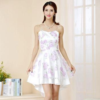 【白色戀人中大尺碼】紫花平口印花燕尾大擺小禮服