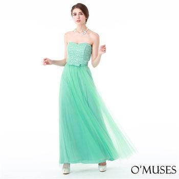 【OMUSES】平口蕾絲婚紗長禮服19-8015(S-3L)