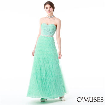 【OMUSES】花朵馬甲式綁帶婚紗長禮服19-1602(S-3L)