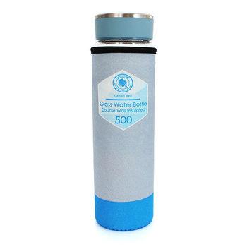 Green Bell雙層玻璃冷熱兩用隨行杯-500ml(藍)