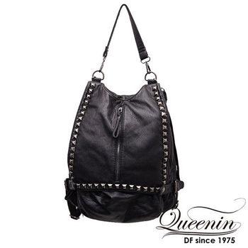 DF Queenin日韓 - 黑世代個性仿皮鉚釘款2用後背包