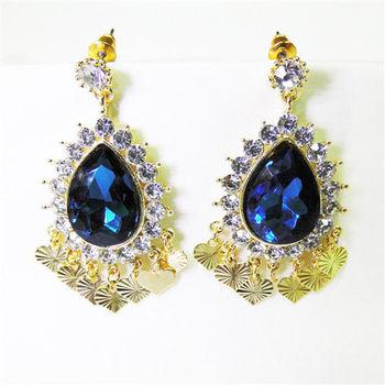 【KAGAYAKU】寶藍心型流蘇設計耳針式耳環