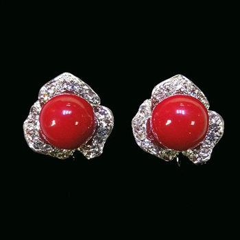 【KAGAYAKU】綻亮典藏紅蜜蠟夾式耳環