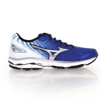 【MIZUNO】WAVE RIDER 19 男慢跑鞋-慢跑 路跑 美津濃 藍白銀