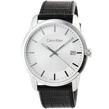 CK Calvin Klein Infinite 凱文克萊皮帶男錶-銀 / K5S311C6