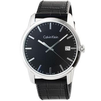 CK Calvin Klein Infinite 凱文克萊皮帶男錶-銀 / K5S311C1