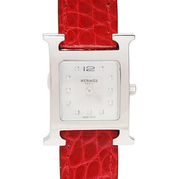 HERMES H-our系列小牛皮鑲鑽銀框鱷魚皮仕女腕錶(木莓紅/21mm-展示品)