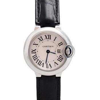 CARTIER卡地亞 Ballon Bleu 系列鱷魚皮藍寶鑲崁羅馬數字仕女腕錶(黑/28mm-展示品)