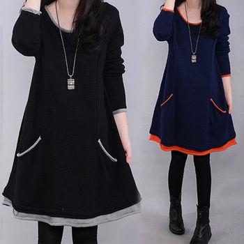【韓國K.W. 】復古典雅加厚洋裝