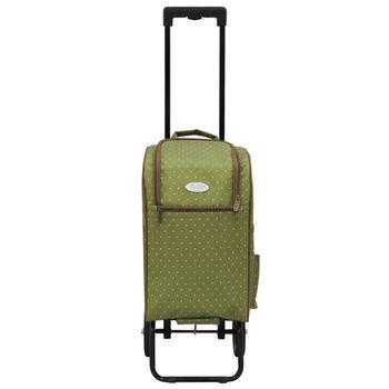 卡蘿輕便時尚購物車(輕旅行/登機)-20L-綠色水玉
