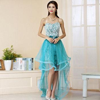 【白色戀人中大尺碼】湖藍色蕾絲前短後長網紗小禮服