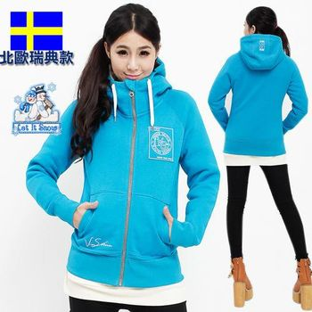 【北歐戶外趣】擋寒流瑞典款女開襟厚磅連帽棉外套 極地禦寒保暖(LA440503藍綠/玫紅 擇一)