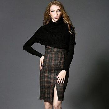 【M2M】歐美時尚斗蓬格紋開叉修身顯瘦洋裝(共二色)