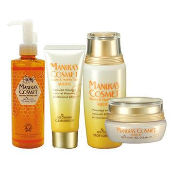 MANUKA'S COSMET麥盧卡蜂潤卸妝洗面乳60g+化妝水60ml+抗皺精華霜 18g+平衡角質凝膠250ml