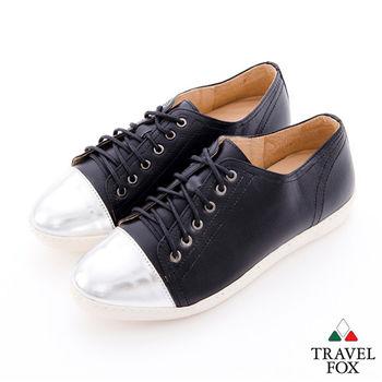 Travel Fox(女) 無所不在的巨星  金屬楦頭雙料綁帶休閒鞋 - 風采黑