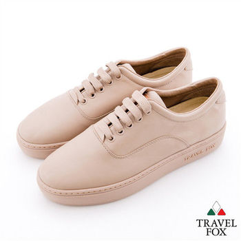 Travel Fox(女)減法極簡調 牛皮圓頭休閒鞋 - 淺棕色