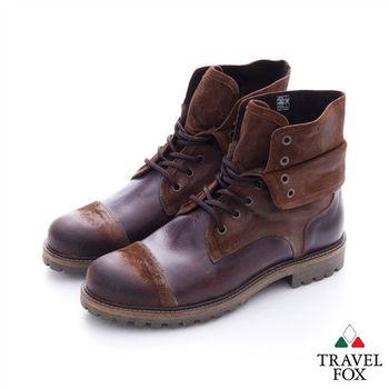 Travel Fox(男) 翻領型男  隨意綁帶雙層翻領高筒牛皮靴 - 亮咖