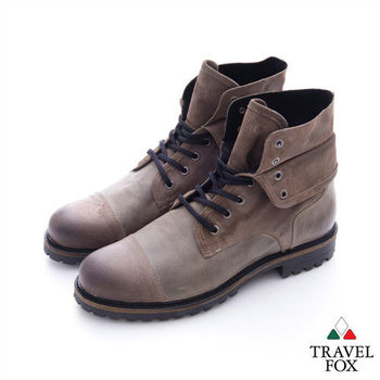 Travel Fox(男) 翻領型男  隨意綁帶雙層翻領高筒牛皮靴 - 磨灰