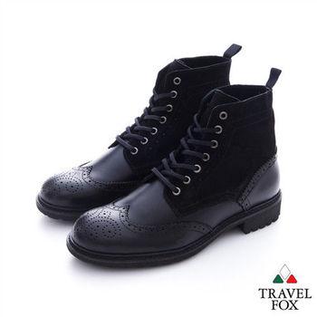 Travel Fox(男) 完美特務  硬挺方頭牛皮綁帶高筒牛皮靴 - 黑