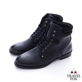 Travel Fox(男) 永遠的戰士 綁帶很多又很帥的高筒牛皮靴 - 正黑