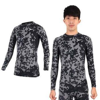 【NIKE】PRO COMBAT 男長袖保暖禦寒針織衫-長袖緊身衣 慢跑 路跑 迷彩黑灰
