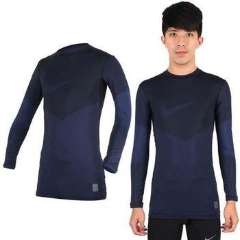 【NIKE】PRO COMBAT 男長袖保暖禦寒針織衫-長袖緊身衣 慢跑 路跑 條紋丈青
