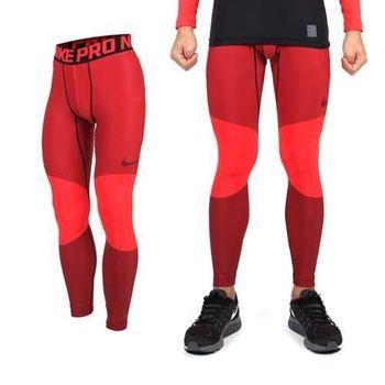 【NIKE】男彈力緊身長褲-慢跑 路跑 刷毛 條紋紅黑  88%聚酯纖維