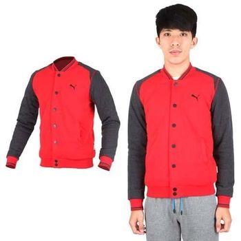 【PUMA】男小跳豹立領保暖刷毛設計棒球休閒立領外套-  紅黑