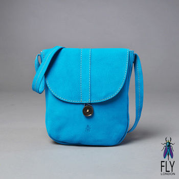 Fly London - 彩染小牛皮口袋式CROSS斜背包 - 晴藍