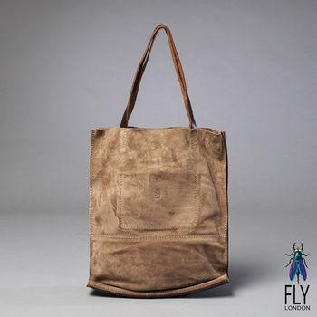 Fly London -簡單愛 反毛皮雙袋口A4購物包 - 淺沙棕