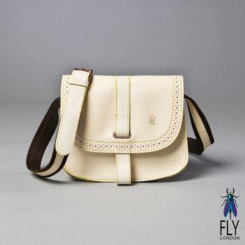 Fly London - 馬場風情雕花插釦馬鞍小包 - 難得白