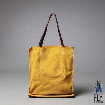 Fly London -簡單愛 反毛皮雙袋口A4購物包 - 麂雅黃