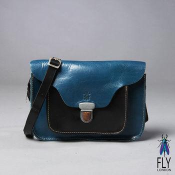 Fly London - 原生調 全牛皮無內裡之壓釦中性書包 - 藍色系