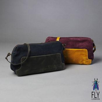 Fly London - 長盒子 放大版雙色筆盒包 - 灰包藍