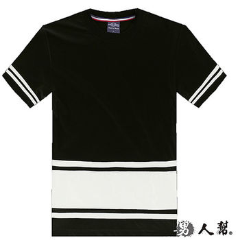 【男人幫】T1164*袖口條紋下擺拼接素面短袖T恤